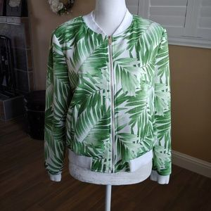 Forever 21 Green White Palm Bomber Jacket Large
